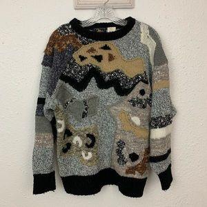 Vintage Art To Wear Black Tan Crew Neck Sweater, M
